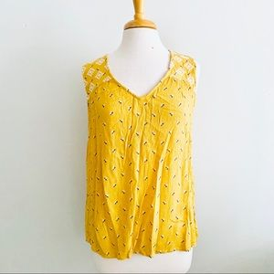 Old Navy Yellow Floral Sleeveless Blouse Sz L